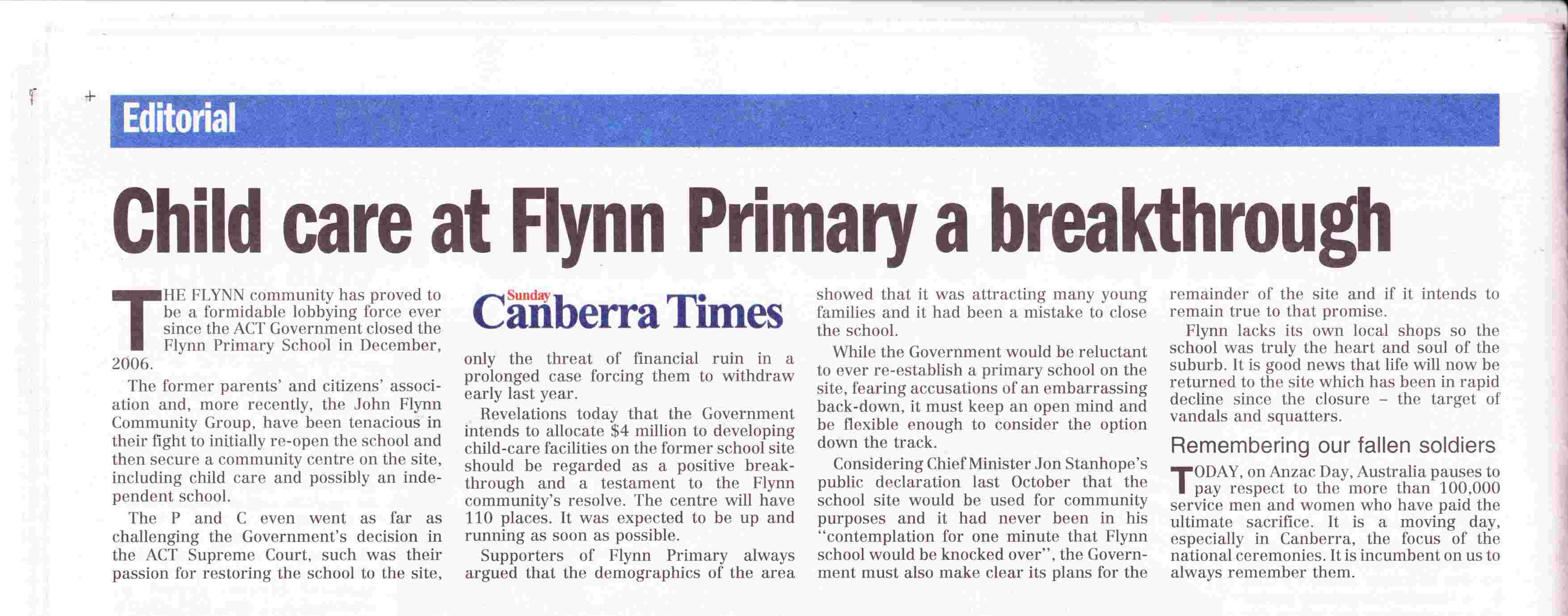 Canberra Times Editorial, April 25 2010