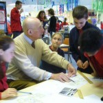 Enrico Taglietti visting the school he designed