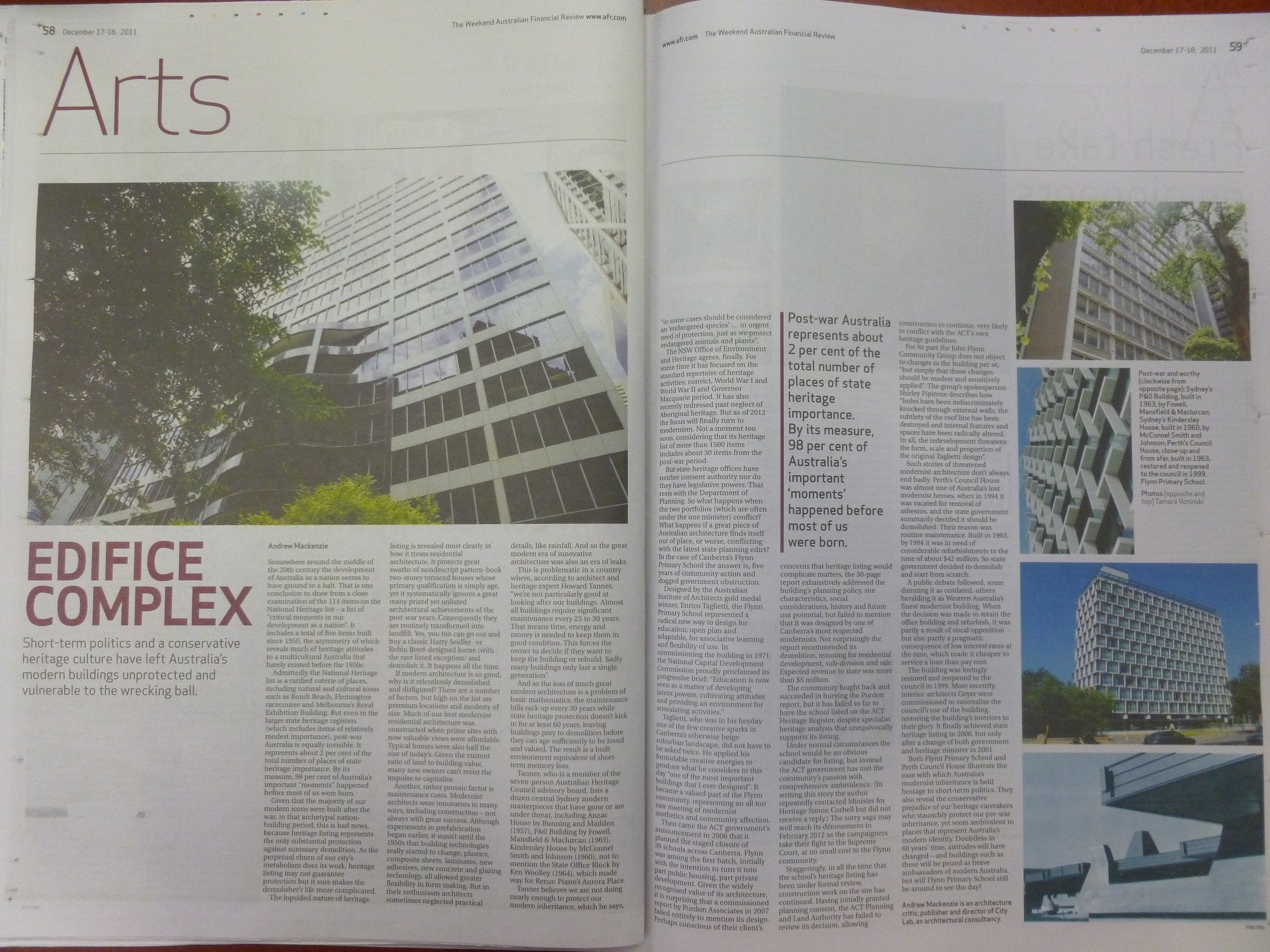 Edifice complex - copy of Australian Financial Review, 17-18 December 2011, p. 59