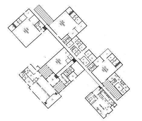 Plan view of Flynn school building